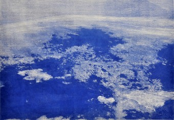 Between water and clouds, woodcut, 70x100 cm, 2015